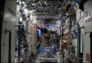 Koichi Wakata swabbing ISS
