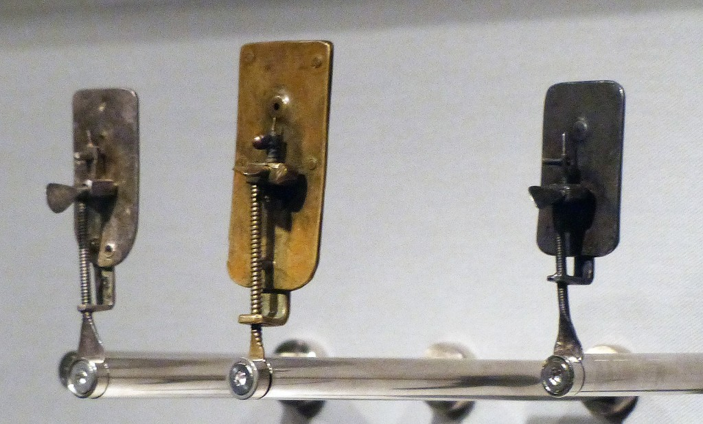 Three of van Leeuwenhoek's microscopes, Boerhaave Museum