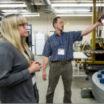 Adrienne Phillips and Robin Gerlach at a pressure chamber