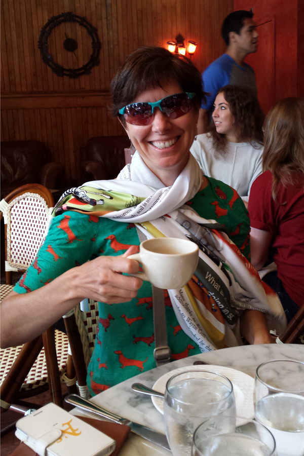 Wearing my poster scarf at breakfast