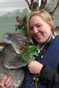 Katie Dahlhausen holding a Koala