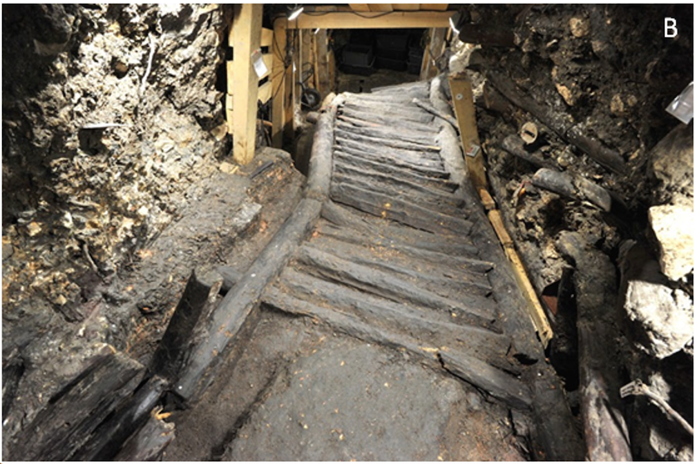 The staircase of Hallstatt. The 3100 years old staircase is 8 m long and 1.20 wide, and is representative of the construction typical of the Bronze Age.
