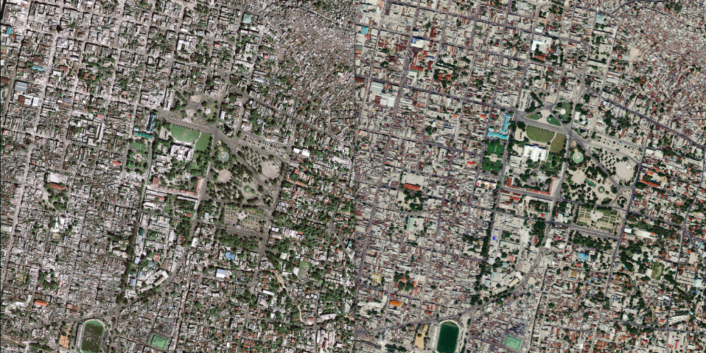 Before (right) and after (left) aerial shots of the earthquake in Haiti, via USGS on Flickr (public domain license).