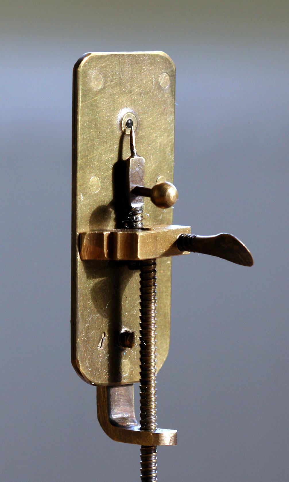 Replica of Leewenhoek's microscope, photo by Jeroen Rouwkema on Wikipedia