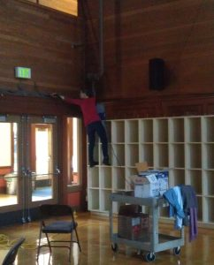 Field work: Erica Hartmann collecting dust for microbial and chemical analysis