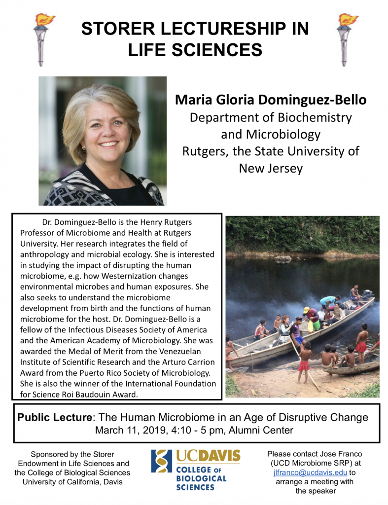 Wrap up of Talk by Maria Gloria Dominguez Bello at UC Davis