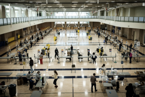 The recreation center at U.C. Davis has been turned into a testing site. Credit...Max Whittaker for The New York Times